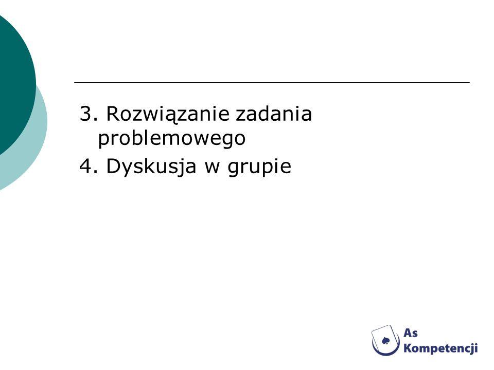 3. Rozwiązanie zadania problemowego 4. Dyskusja w grupie