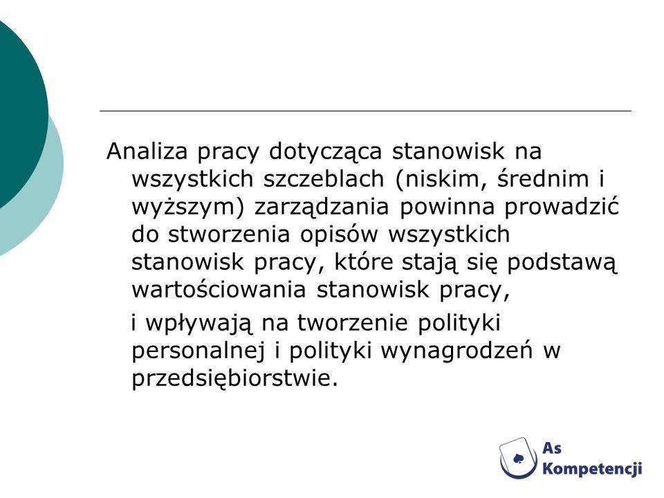 Analiza pracy dotycząca stanowisk na wszystkich szczeblach (niskim, średnim i wyższym) zarządzania powinna prowadzić do stworzenia opisów wszystkich s