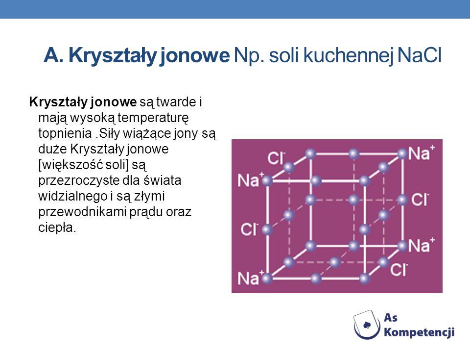 A. Kryształy jonowe Np. soli kuchennej NaCl Kryształy jonowe są twarde i mają wysoką temperaturę topnienia.Siły wiążące jony są duże Kryształy jonowe