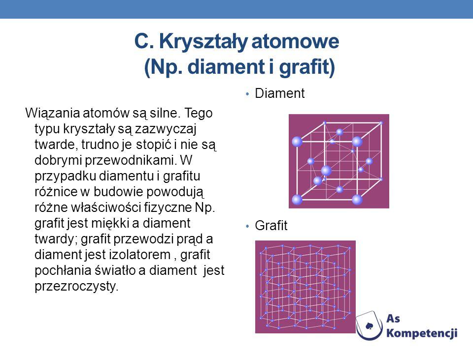 C. Kryształy atomowe (Np. diament i grafit) Wiązania atomów są silne. Tego typu kryształy są zazwyczaj twarde, trudno je stopić i nie są dobrymi przew