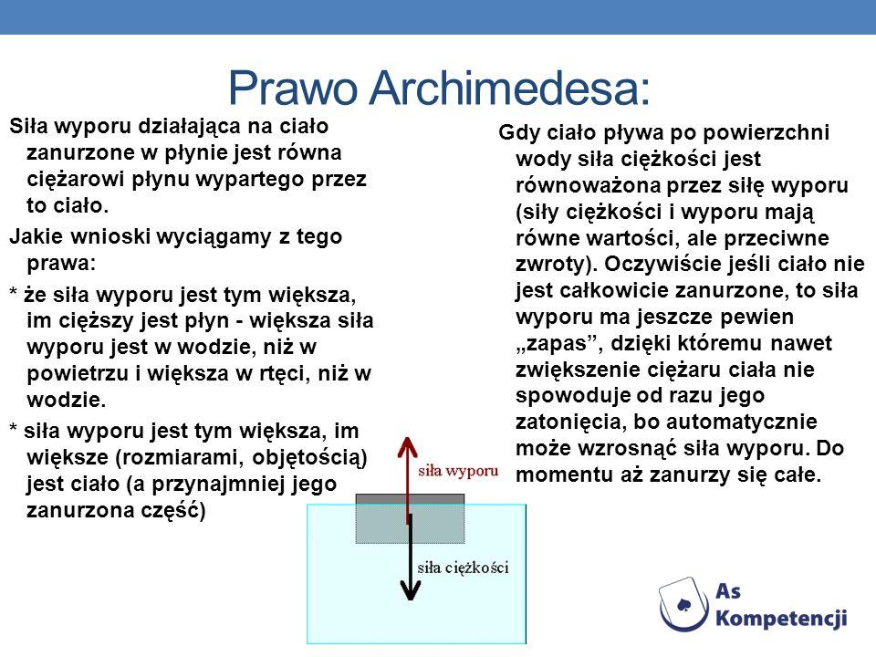 Prawo Archimedesa: Siła wyporu działająca na ciało zanurzone w płynie jest równa ciężarowi płynu wypartego przez to ciało. Jakie wnioski wyciągamy z t