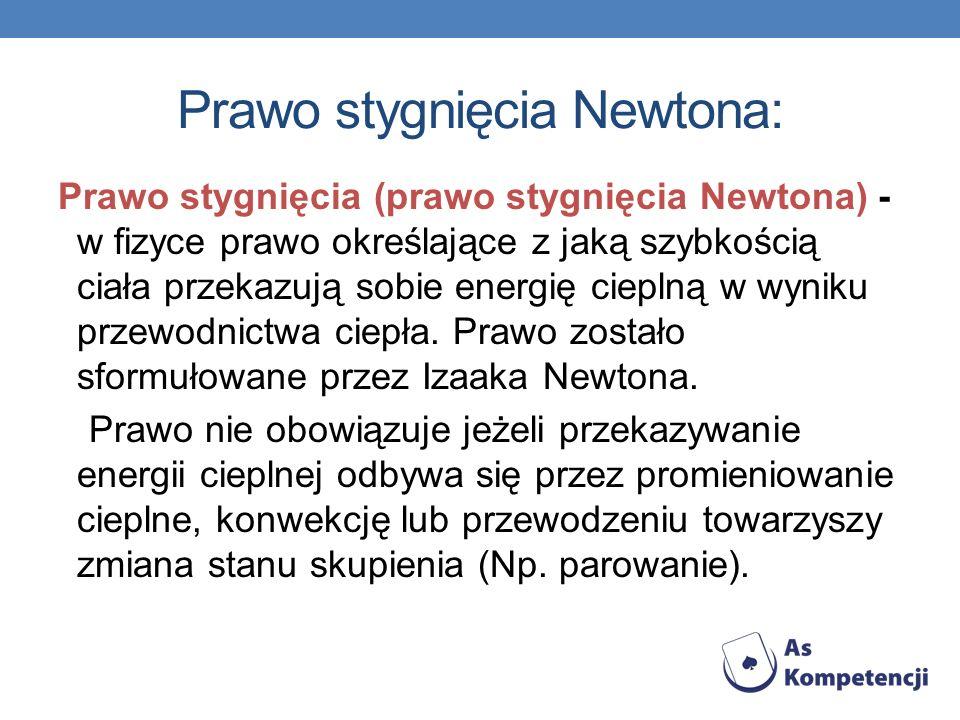Prawo stygnięcia Newtona: Prawo stygnięcia (prawo stygnięcia Newtona) - w fizyce prawo określające z jaką szybkością ciała przekazują sobie energię ci