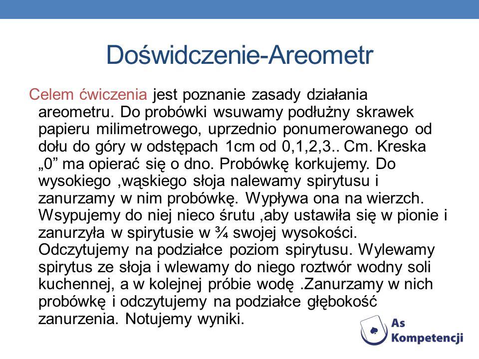 Doświdczenie-Areometr Celem ćwiczenia jest poznanie zasady działania areometru. Do probówki wsuwamy podłużny skrawek papieru milimetrowego, uprzednio