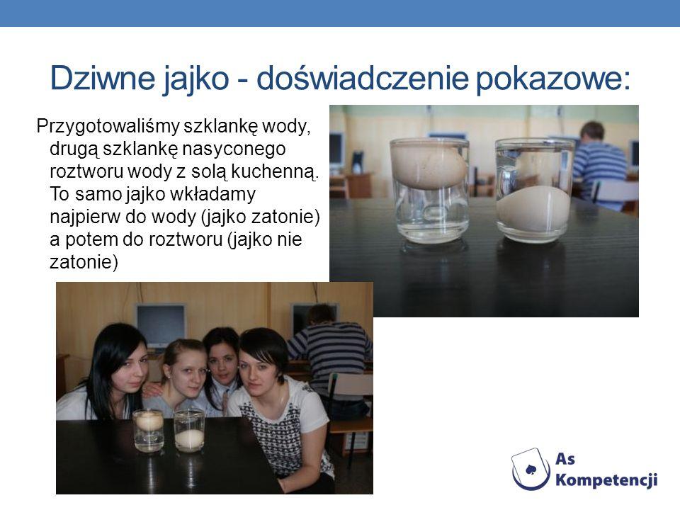 Dziwne jajko - doświadczenie pokazowe: Przygotowaliśmy szklankę wody, drugą szklankę nasyconego roztworu wody z solą kuchenną. To samo jajko wkładamy
