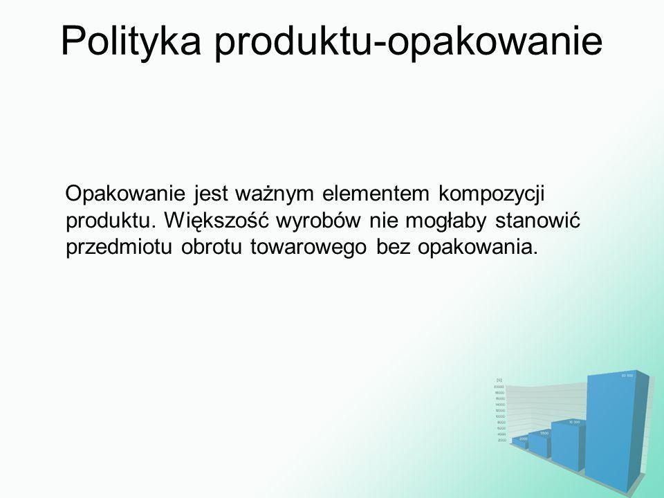 Polityka produktu-opakowanie Opakowanie jest ważnym elementem kompozycji produktu. Większość wyrobów nie mogłaby stanowić przedmiotu obrotu towarowego
