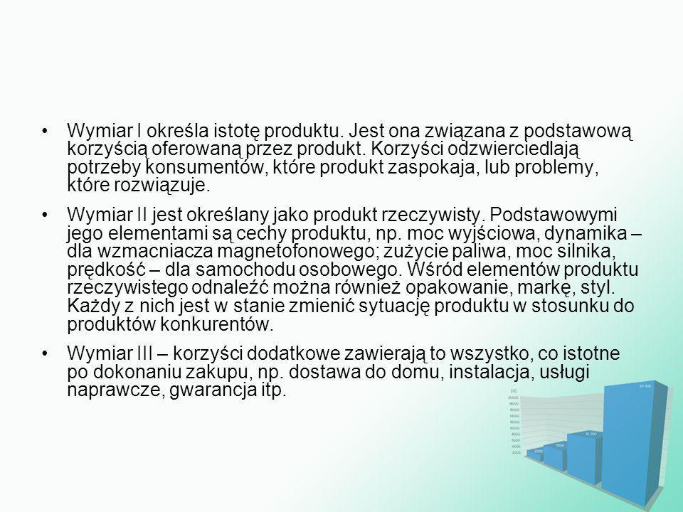Wymiar I określa istotę produktu. Jest ona związana z podstawową korzyścią oferowaną przez produkt. Korzyści odzwierciedlają potrzeby konsumentów, któ