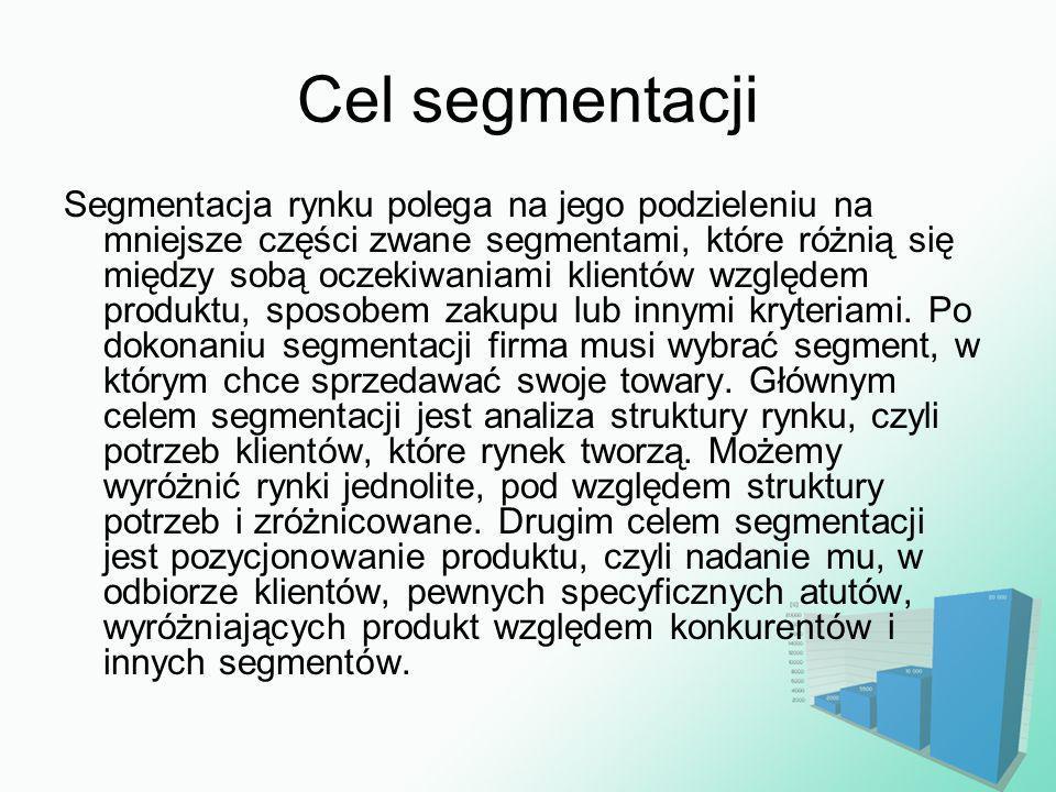 Cel segmentacji Segmentacja rynku polega na jego podzieleniu na mniejsze części zwane segmentami, które różnią się między sobą oczekiwaniami klientów