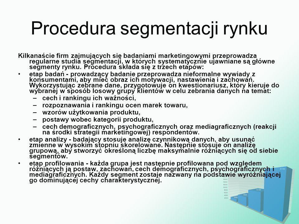 Procedura segmentacji rynku Kilkanaście firm zajmujących się badaniami marketingowymi przeprowadza regularne studia segmentacji, w których systematycz