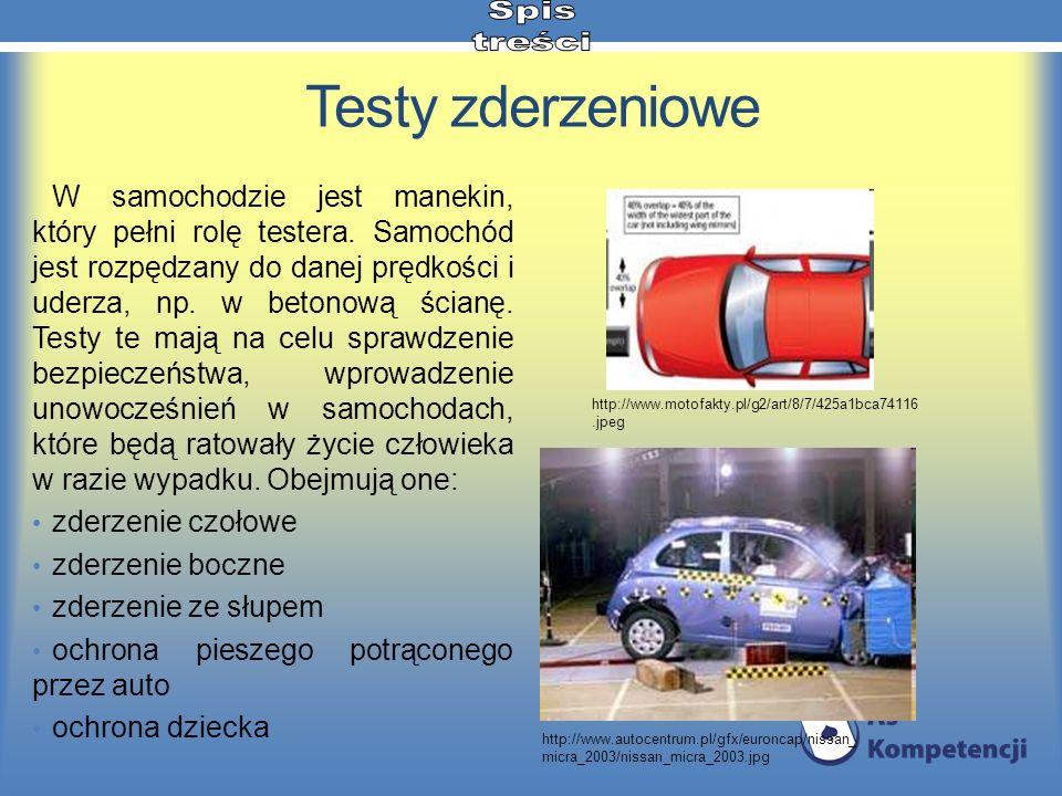 Testy zderzeniowe W samochodzie jest manekin, który pełni rolę testera. Samochód jest rozpędzany do danej prędkości i uderza, np. w betonową ścianę. T