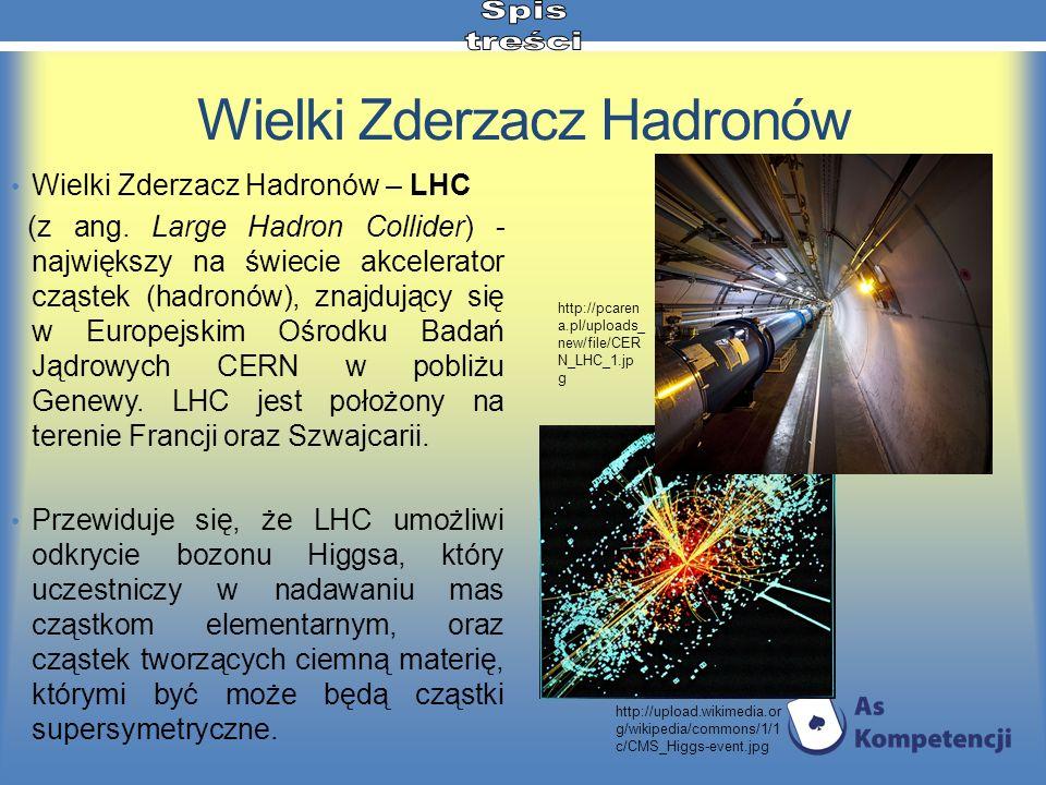 Wielki Zderzacz Hadronów Wielki Zderzacz Hadronów – LHC (z ang. Large Hadron Collider) - największy na świecie akcelerator cząstek (hadronów), znajduj