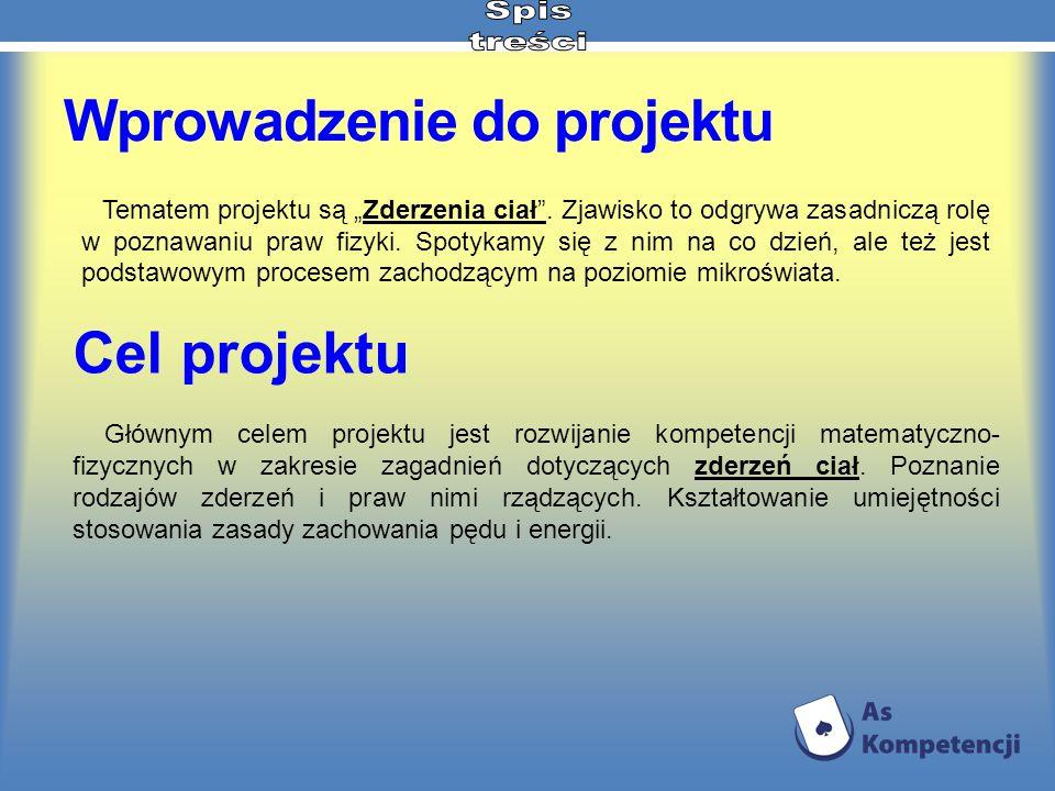 Wprowadzenie do projektu Głównym celem projektu jest rozwijanie kompetencji matematyczno- fizycznych w zakresie zagadnień dotyczących zderzeń ciał. Po