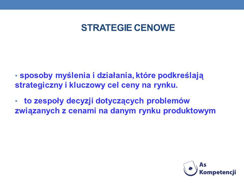 STRATEGIE CENOWE sposoby myślenia i działania, które podkreślają strategiczny i kluczowy cel ceny na rynku.