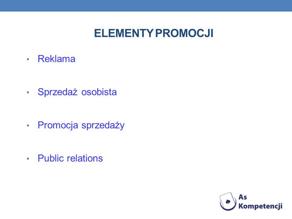 ELEMENTY PROMOCJI Reklama Sprzedaż osobista Promocja sprzedaży Public relations