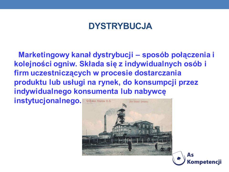 DYSTRYBUCJA Marketingowy kanał dystrybucji – sposób połączenia i kolejności ogniw.