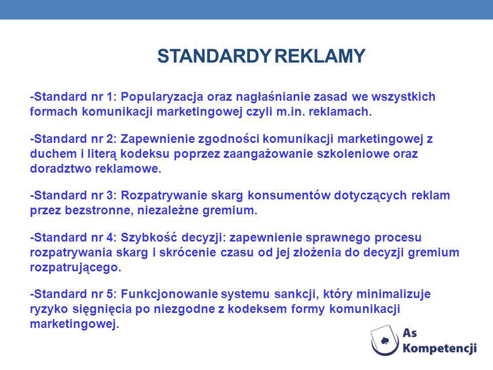 STANDARDY REKLAMY -Standard nr 1: Popularyzacja oraz nagłaśnianie zasad we wszystkich formach komunikacji marketingowej czyli m.in.