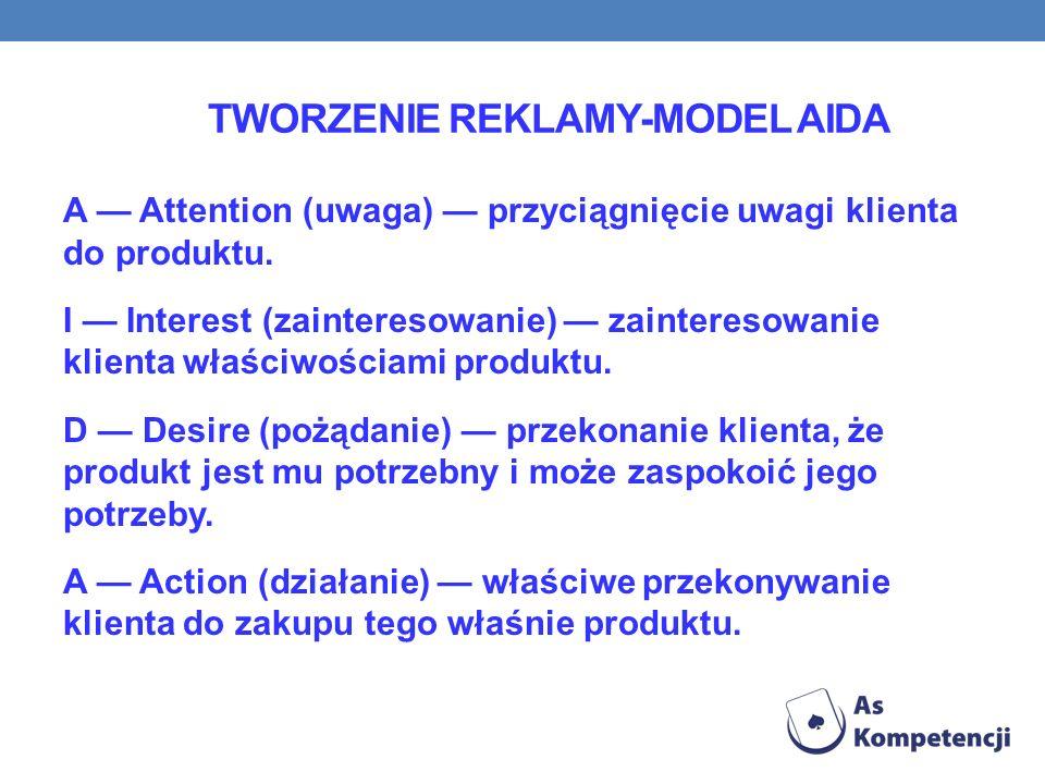 TWORZENIE REKLAMY-MODEL AIDA A Attention (uwaga) przyciągnięcie uwagi klienta do produktu.