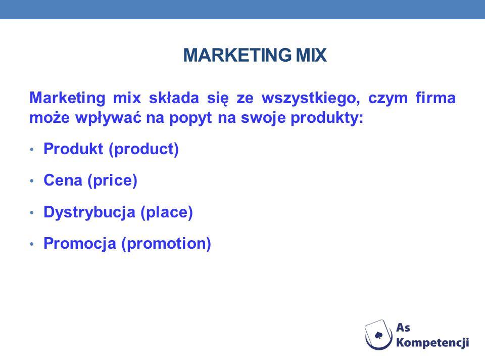 MARKETING MIX Marketing mix składa się ze wszystkiego, czym firma może wpływać na popyt na swoje produkty: Produkt (product) Cena (price) Dystrybucja (place) Promocja (promotion)