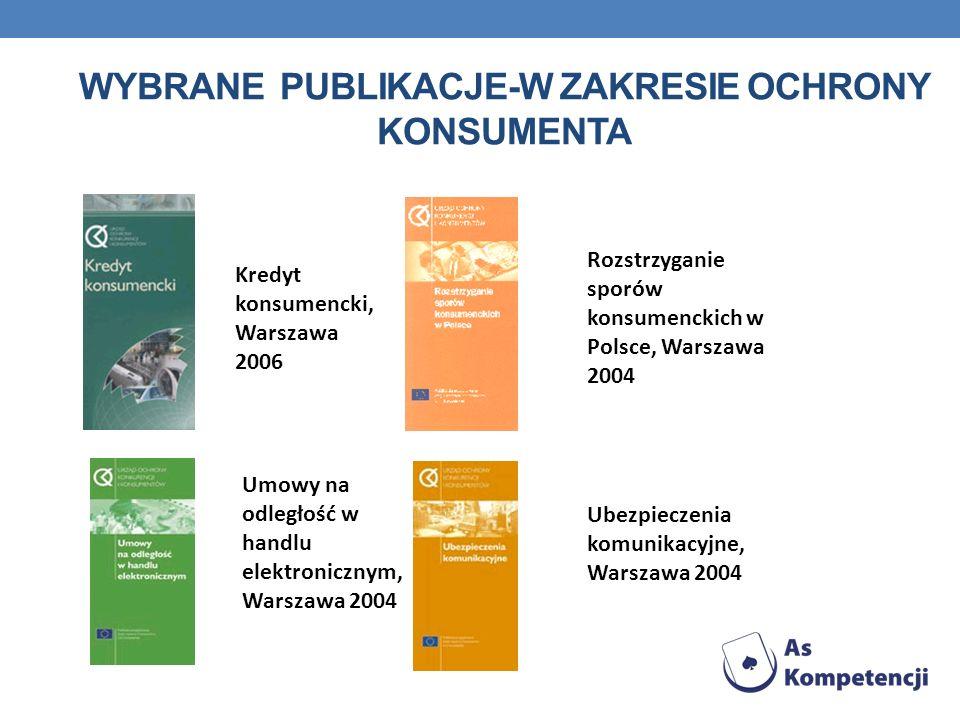 WYBRANE PUBLIKACJE-W ZAKRESIE OCHRONY KONSUMENTA Kredyt konsumencki, Warszawa 2006 Rozstrzyganie sporów konsumenckich w Polsce, Warszawa 2004 Umowy na