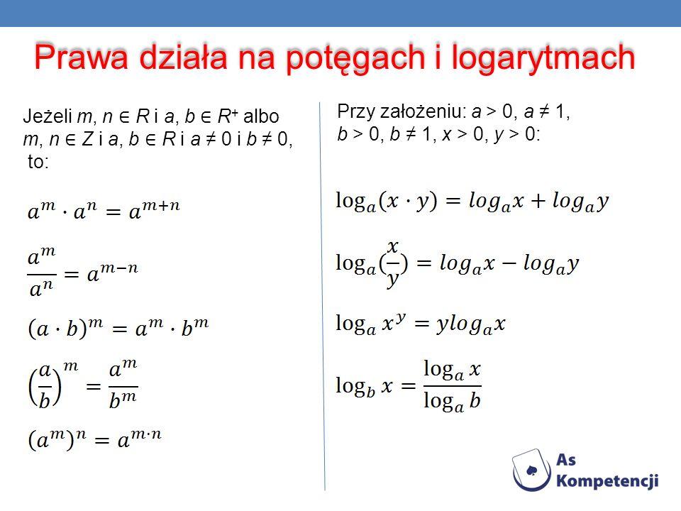 Prawa działa na potęgach i logarytmach Jeżeli m, n R i a, b R + albo m, n Z i a, b R i a 0 i b 0, to: Przy założeniu: a > 0, a 1, b > 0, b 1, x > 0, y