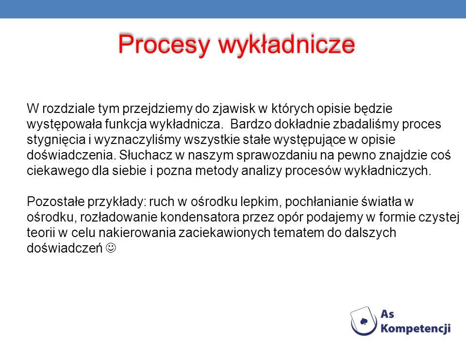 Procesy wykładnicze W rozdziale tym przejdziemy do zjawisk w których opisie będzie występowała funkcja wykładnicza. Bardzo dokładnie zbadaliśmy proces