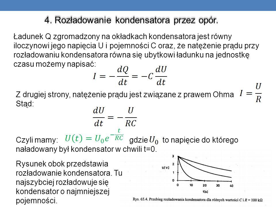 4. Rozładowanie kondensatora przez opór. Ładunek Q zgromadzony na okładkach kondensatora jest równy iloczynowi jego napięcia U i pojemności C oraz, że
