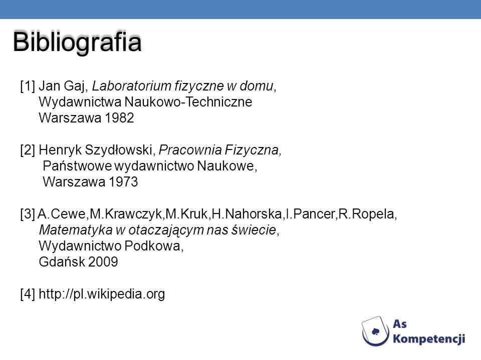 Bibliografia [1] Jan Gaj, Laboratorium fizyczne w domu, Wydawnictwa Naukowo-Techniczne Warszawa 1982 [2] Henryk Szydłowski, Pracownia Fizyczna, Państw