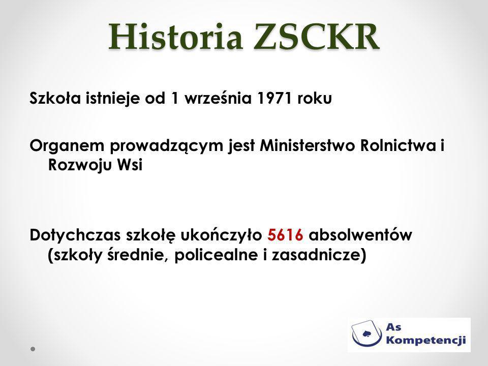 Historia ZSCKR Szkoła istnieje od 1 września 1971 roku Organem prowadzącym jest Ministerstwo Rolnictwa i Rozwoju Wsi Dotychczas szkołę ukończyło 5616 absolwentów (szkoły średnie, policealne i zasadnicze)