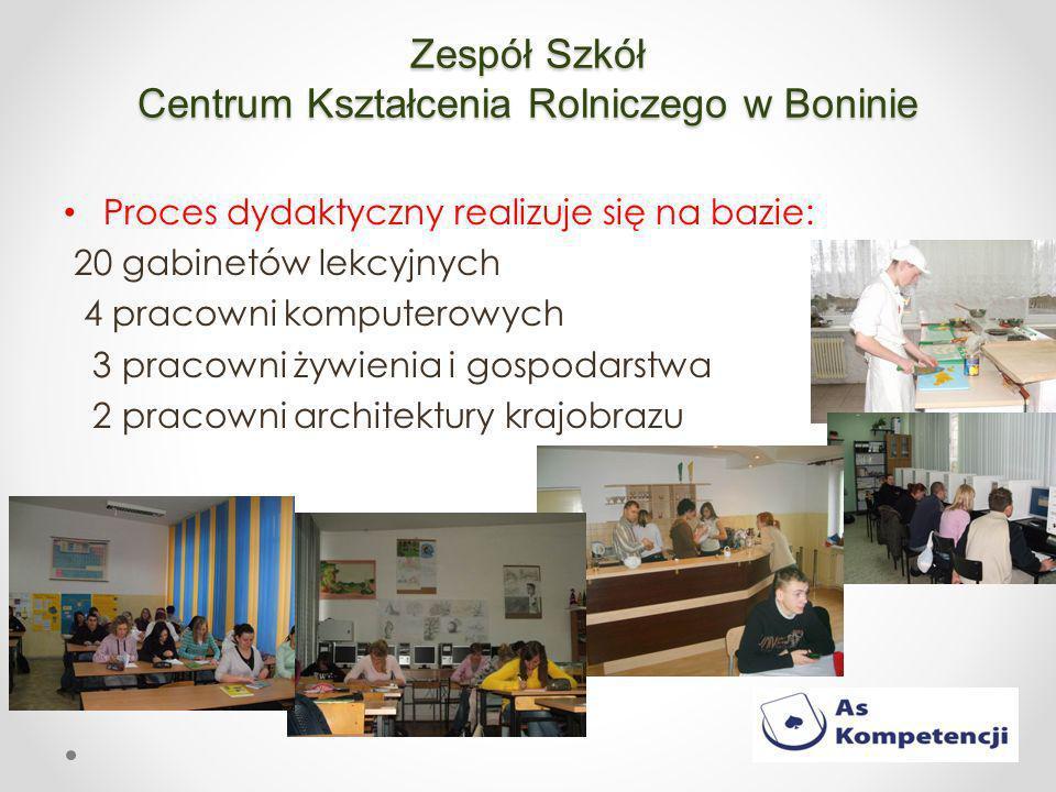 Zespół Szkół Centrum Kształcenia Rolniczego w Boninie Proces dydaktyczny realizuje się na bazie: 20 gabinetów lekcyjnych 4 pracowni komputerowych 3 pracowni żywienia i gospodarstwa 2 pracowni architektury krajobrazu
