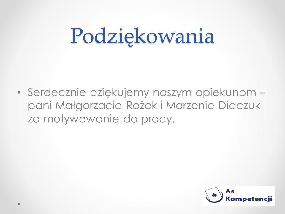 Podziękowania Serdecznie dziękujemy naszym opiekunom – pani Małgorzacie Rożek i Marzenie Diaczuk za motywowanie do pracy.