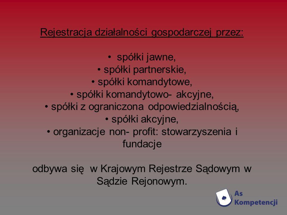 Rejestracja działalności gospodarczej przez: spółki jawne, spółki partnerskie, spółki komandytowe, spółki komandytowo- akcyjne, spółki z ograniczona o