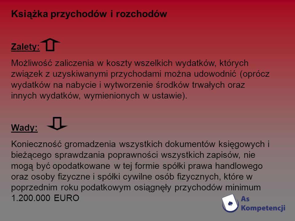 Książka przychodów i rozchodów Zalety: Możliwość zaliczenia w koszty wszelkich wydatków, których związek z uzyskiwanymi przychodami można udowodnić (o