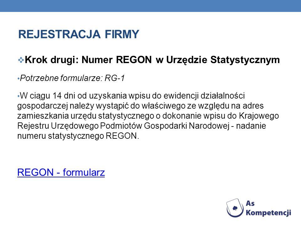 REJESTRACJA FIRMY Krok drugi: Numer REGON w Urzędzie Statystycznym Potrzebne formularze: RG-1 W ciągu 14 dni od uzyskania wpisu do ewidencji działalno