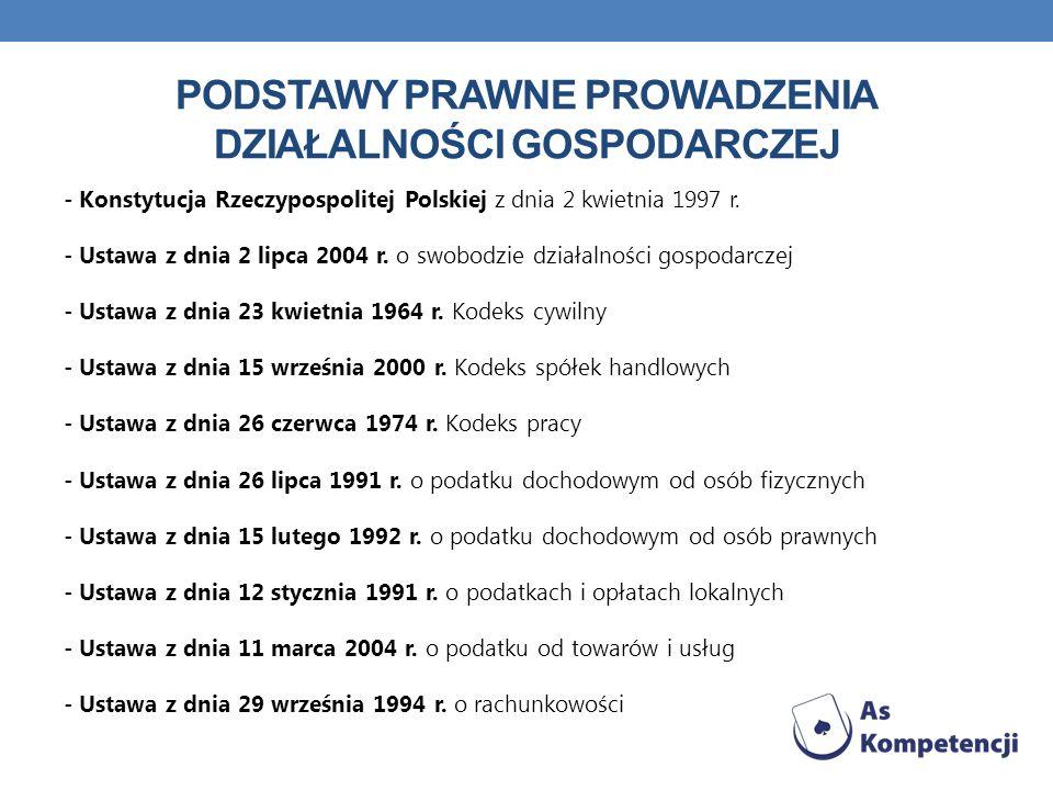 PODSTAWY PRAWNE PROWADZENIA DZIAŁALNOŚCI GOSPODARCZEJ - Konstytucja Rzeczypospolitej Polskiej z dnia 2 kwietnia 1997 r. - Ustawa z dnia 2 lipca 2004 r