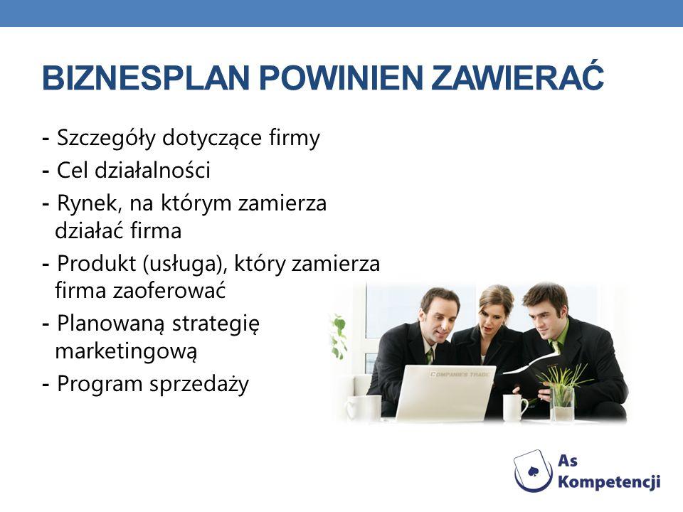 BIZNESPLAN POWINIEN ZAWIERAĆ - Szczegóły dotyczące firmy - Cel działalności - Rynek, na którym zamierza działać firma - Produkt (usługa), który zamier