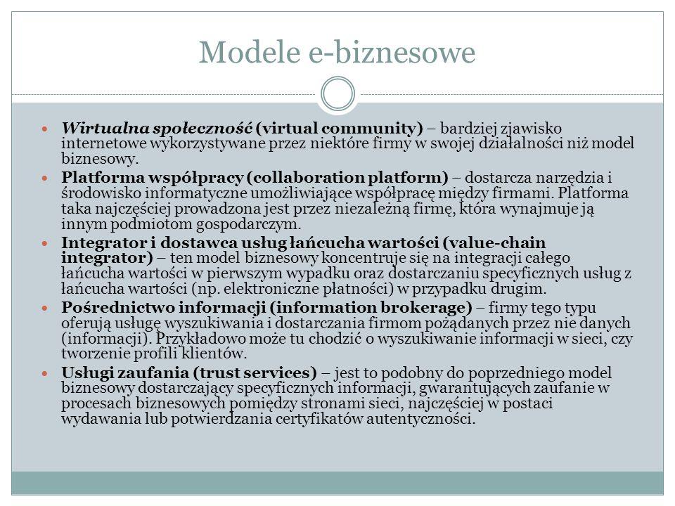 Modele e-biznesowe Wirtualna społeczność (virtual community) – bardziej zjawisko internetowe wykorzystywane przez niektóre firmy w swojej działalności niż model biznesowy.