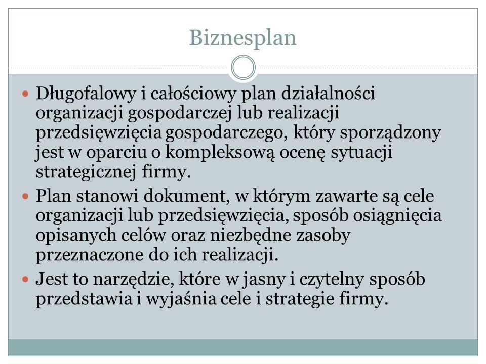 Biznesplan Długofalowy i całościowy plan działalności organizacji gospodarczej lub realizacji przedsięwzięcia gospodarczego, który sporządzony jest w