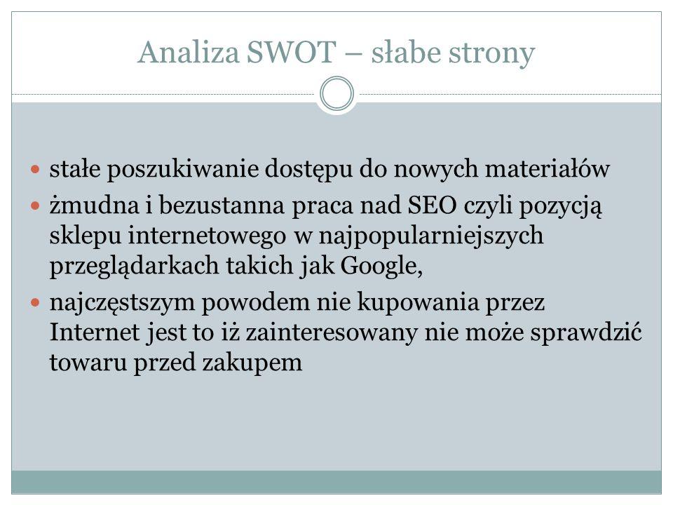Analiza SWOT – słabe strony stałe poszukiwanie dostępu do nowych materiałów żmudna i bezustanna praca nad SEO czyli pozycją sklepu internetowego w naj