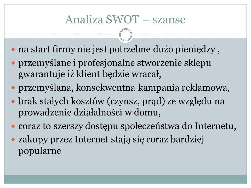 Analiza SWOT – szanse na start firmy nie jest potrzebne dużo pieniędzy, przemyślane i profesjonalne stworzenie sklepu gwarantuje iż klient będzie wrac
