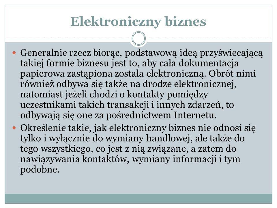 Elektroniczny biznes Biznes elektroniczny, e-biznes (ang.