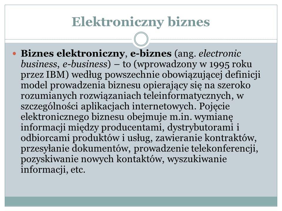 Elektroniczny biznes Biznes elektroniczny, e-biznes (ang. electronic business, e-business) – to (wprowadzony w 1995 roku przez IBM) według powszechnie