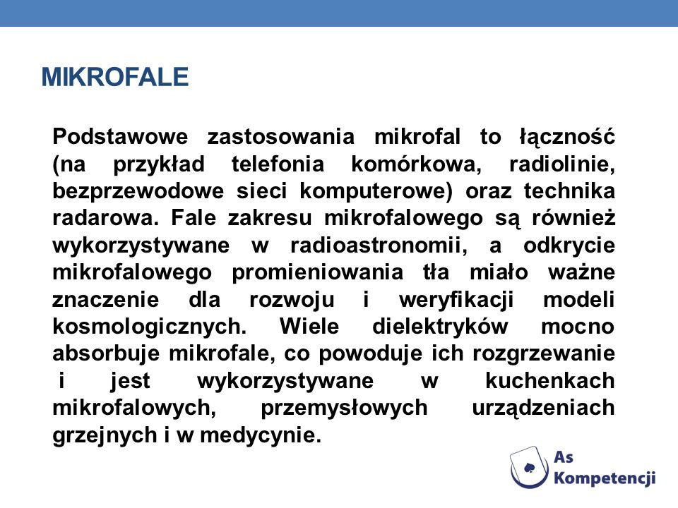 MIKROFALE Podstawowe zastosowania mikrofal to łączność (na przykład telefonia komórkowa, radiolinie, bezprzewodowe sieci komputerowe) oraz technika ra