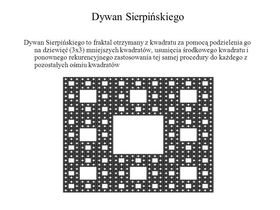 Dywan Sierpińskiego Dywan Sierpińskiego to fraktal otrzymany z kwadratu za pomocą podzielenia go na dziewięć (3x3) mniejszych kwadratów, usunięcia śro