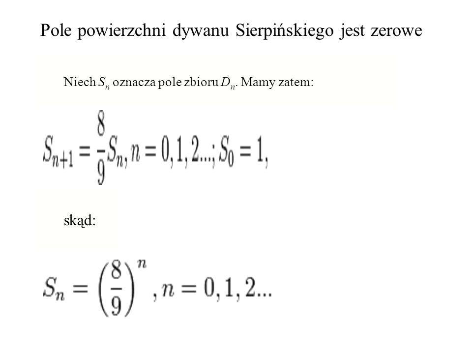 Pole powierzchni dywanu Sierpińskiego jest zerowe Niech S n oznacza pole zbioru D n. Mamy zatem: skąd: