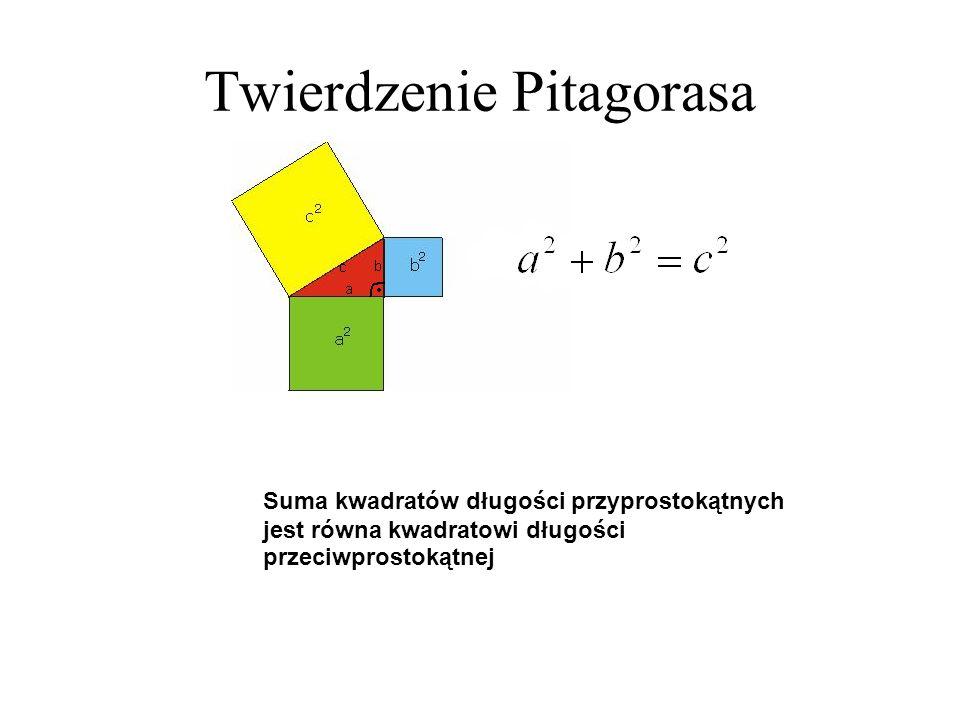Twierdzenie Pitagorasa Suma kwadratów długości przyprostokątnych jest równa kwadratowi długości przeciwprostokątnej