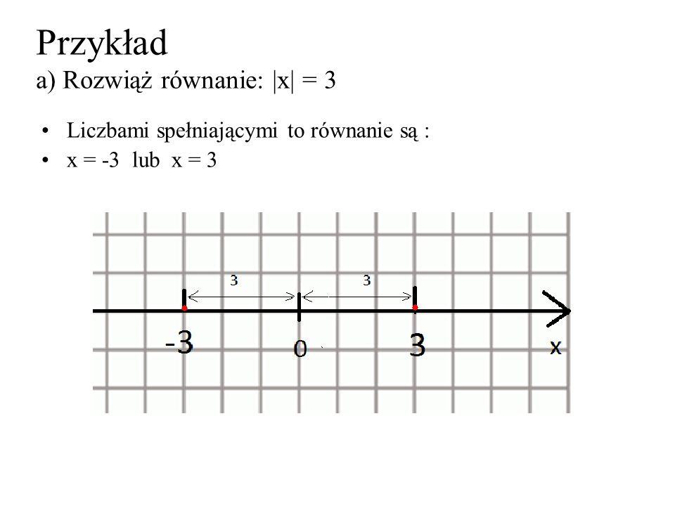 Przykład a) Rozwiąż równanie: |x| = 3 Liczbami spełniającymi to równanie są : x = -3 lub x = 3