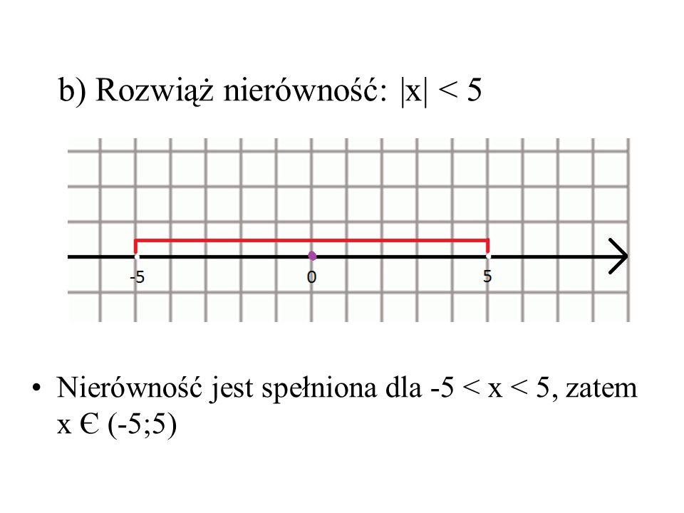 b) Rozwiąż nierówność: |x| < 5 Nierówność jest spełniona dla -5 < x < 5, zatem x Є (-5;5)