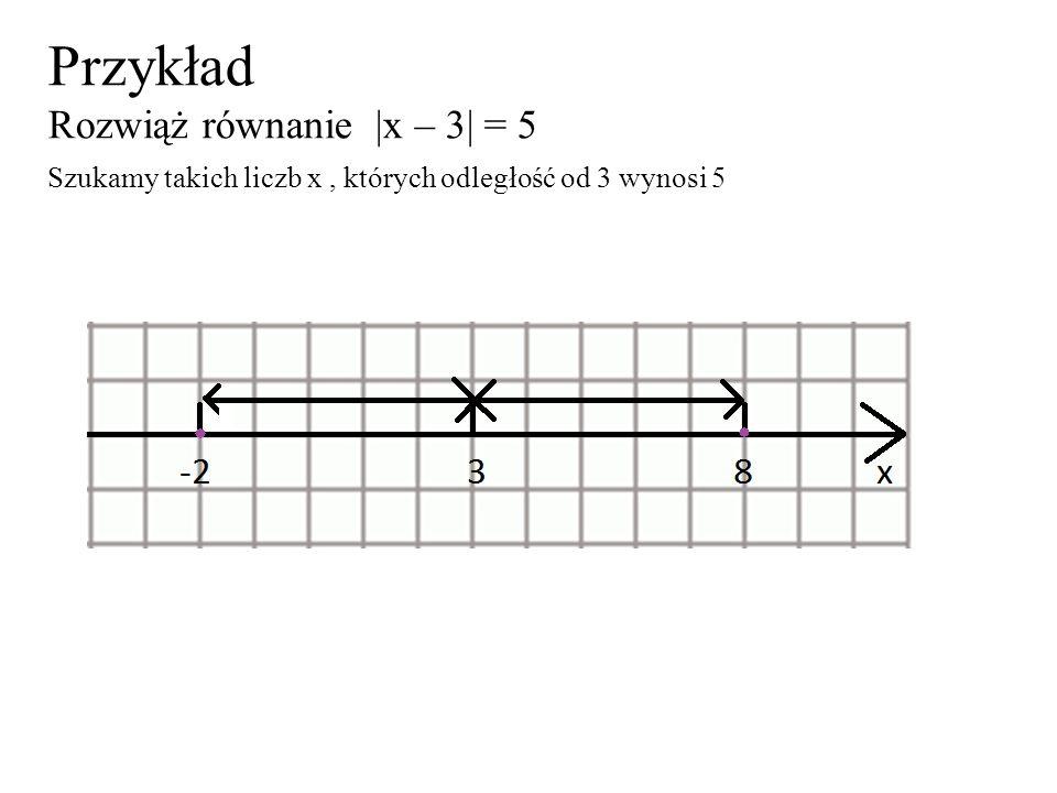 Przykład Rozwiąż równanie |x – 3| = 5 Szukamy takich liczb x, których odległość od 3 wynosi 5