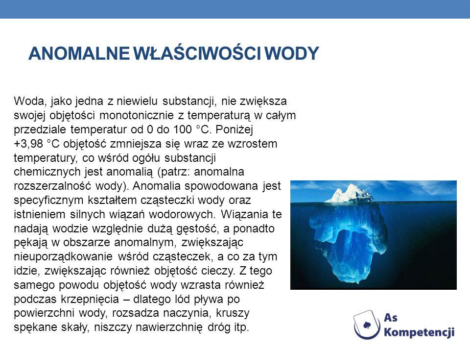 ANOMALNE WŁAŚCIWOŚCI WODY Woda, jako jedna z niewielu substancji, nie zwiększa swojej objętości monotonicznie z temperaturą w całym przedziale tempera