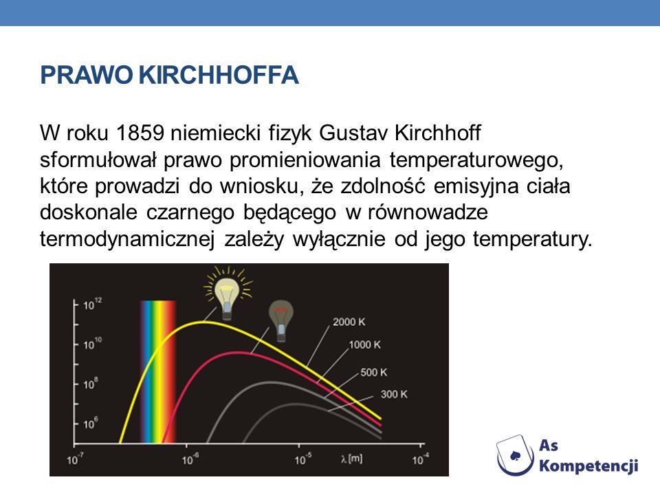 PRAWO KIRCHHOFFA W roku 1859 niemiecki fizyk Gustav Kirchhoff sformułował prawo promieniowania temperaturowego, które prowadzi do wniosku, że zdolność