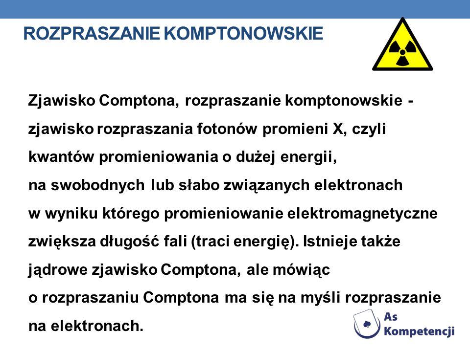 ROZPRASZANIE KOMPTONOWSKIE Zjawisko Comptona, rozpraszanie komptonowskie - zjawisko rozpraszania fotonów promieni X, czyli kwantów promieniowania o du